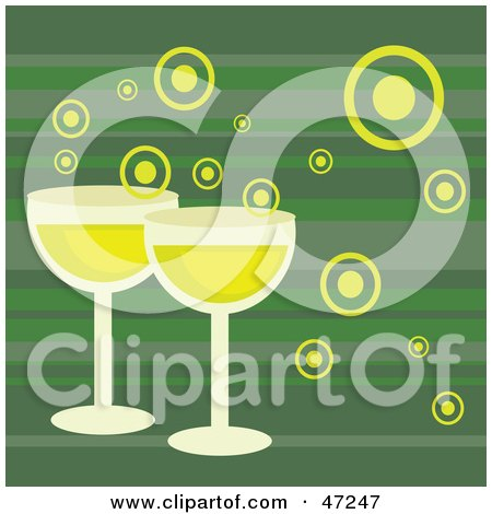 Clipart Illustration of a Green Background With Bubbly Champagne by Prawny