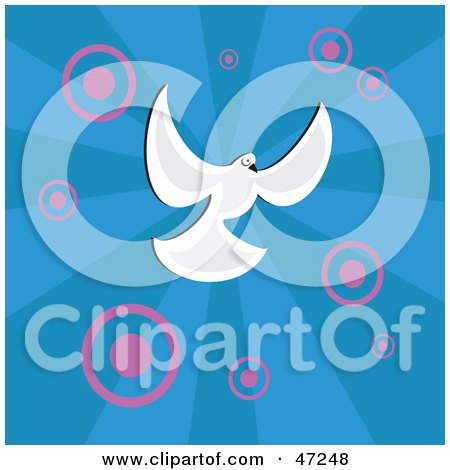 Clipart Illustration of a White Dove On A Blue Background With Pink Circles by Prawny