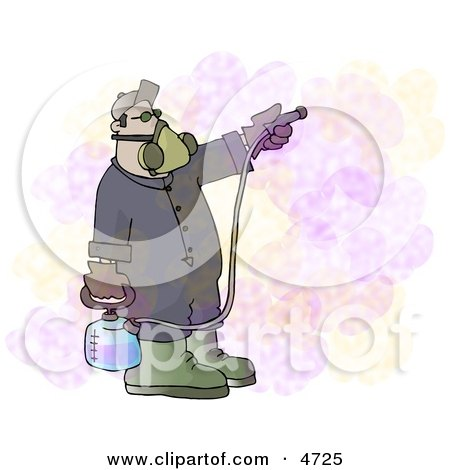 Man Spraying a Pesticide/Insecticide Chemical Substance Used to Kill Insects Clipart by djart