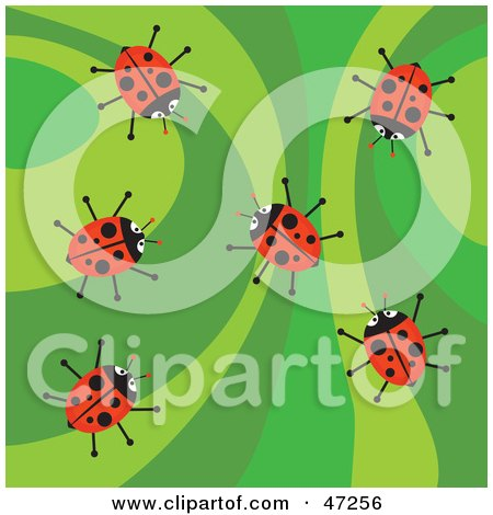 Clipart Illustration of a Retro Green Background With Ladybugs by Prawny