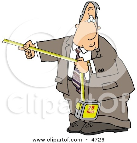 Businessman Using A Self Retracting Pocket Tape Measure Clipart