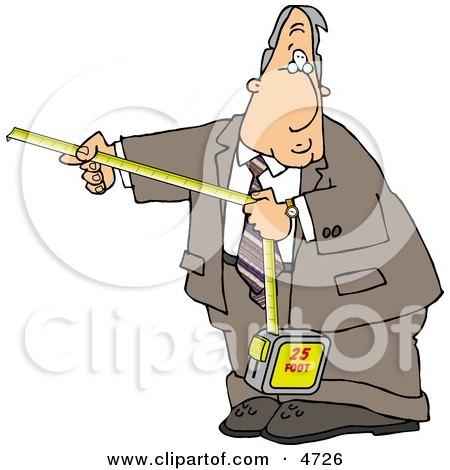 Businessman Using a Self-retracting Pocket Tape Measure Posters, Art Prints