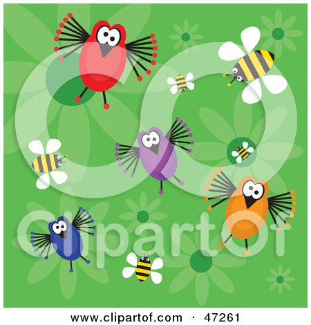 Clipart Illustration of a Green Background Of Funny Birds, Bees And Flowers by Prawny