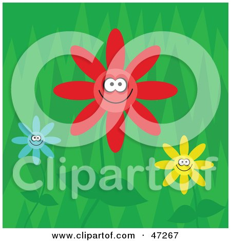Clipart Illustration of a Green Background With Three Happy Flowers In A Garden by Prawny