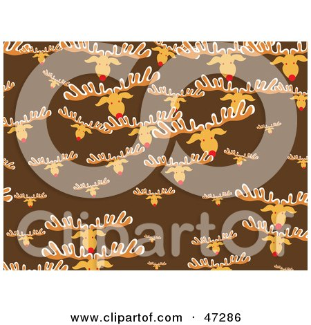 Royalty-Free (RF) Clipart Illustration of a Brown Background Of Rudolph Heads by Prawny