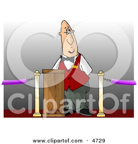 Movie Ticket Taker Standing Behind a Podium and Gate Clipart by djart