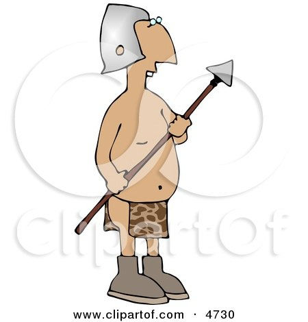Native Guard Holding a Spear Weapon Clipart by djart