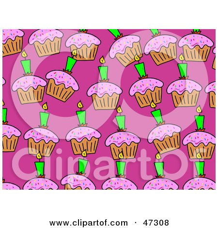 Royalty-Free (RF) Clipart Illustration of a Pink Background With Rows Of Birthday Cupcakes by Prawny