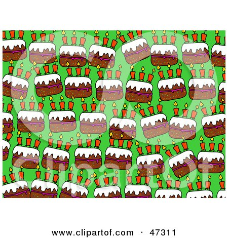 Royalty-Free (RF) Clipart Illustration of a Green Background With Rows Of Birthday Cakes by Prawny