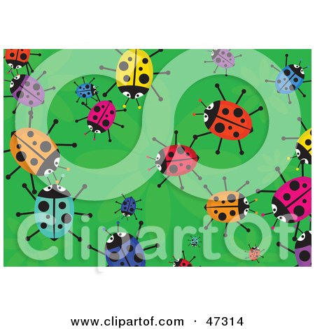 Royalty-Free (RF) Clipart Illustration of a Green Background With Scattered Colorful Ladybugs by Prawny