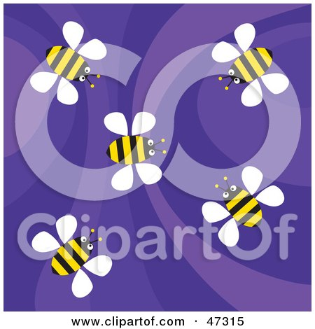 Royalty-Free (RF) Clipart Illustration of a Retro Purple Background With Flying Bees by Prawny