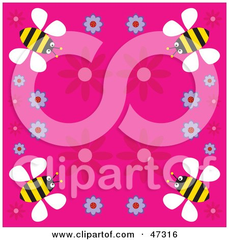 Royalty-Free (RF) Clipart Illustration of a Pink Background Bordered With Flowers And Yellow Bees by Prawny