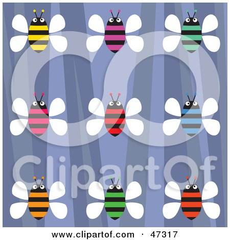 Royalty-Free (RF) Clipart Illustration of a Retro Purple Background With Colorful Honey Bees by Prawny