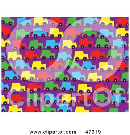 Royalty-Free (RF) Clipart Illustration of a Purple Background Of Colorful Cars In Traffic by Prawny