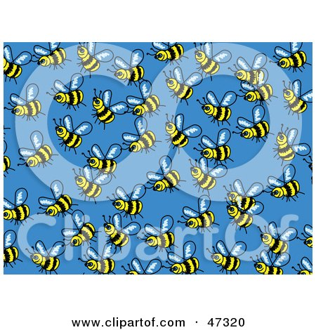 Royalty-Free (RF) Clipart Illustration of a Blue Background Of Busy Honey Bees by Prawny