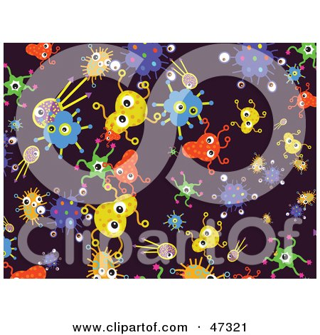 Royalty-Free (RF) Clipart Illustration of a Purple Background Of Colorful Germs by Prawny