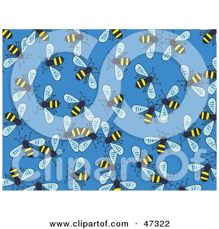 Royalty-Free (RF) Clipart Illustration of a Blue Background Of Buzzing Honey Bees by Prawny