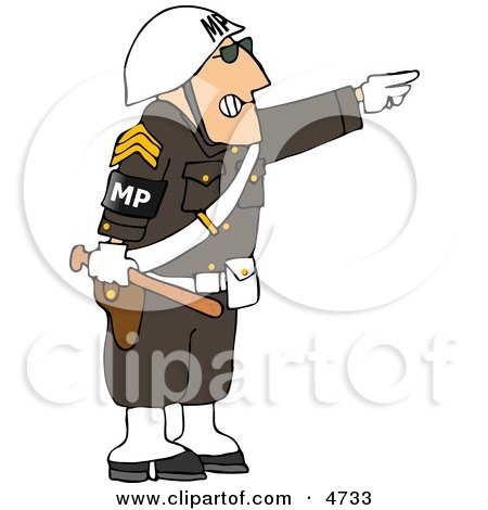 Angry Male MP Officer Directing People To Move By Pointing His Finger Clipart