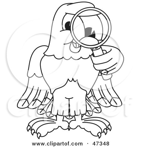 Royalty-Free (RF) Clipart Illustration of a Bald Eagle Hawk Or Falcon Inspecting Outline by Toons4Biz