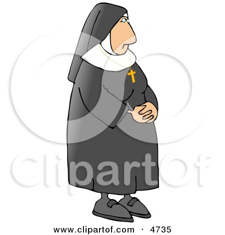 Religious Nun Wearing a Gold Cross Around Her Neck Clipart by djart