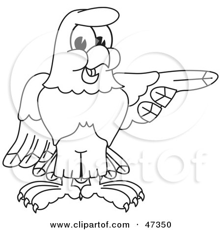 Royalty-Free (RF) Clipart Illustration of a Bald Eagle Hawk Or Falcon Pointing Outline by Toons4Biz