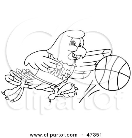 Royalty-Free (RF) Clipart Illustration of a Bald Eagle Hawk Or Falcon Dribbling A Ball Outline by Toons4Biz