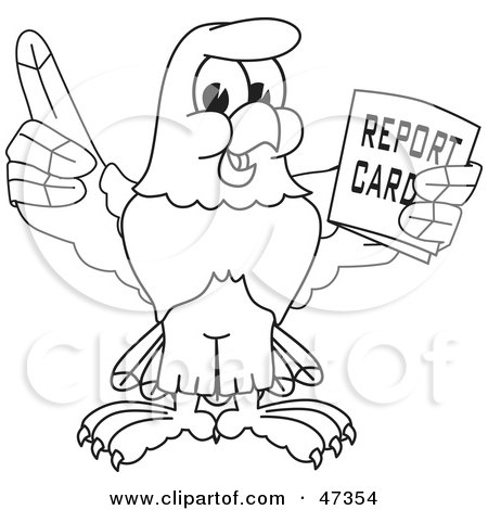 Royalty-Free (RF) Clipart Illustration of a Bald Eagle Hawk Or Falcon Holding A Report Card Outline by Toons4Biz