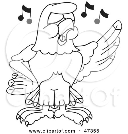 Royalty-Free (RF) Clipart Illustration of a Bald Eagle Hawk Or Falcon Singing Outline by Toons4Biz