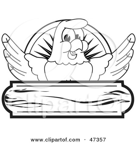 Royalty-Free (RF) Clipart Illustration of a Bald Eagle Hawk Or Falcon Wooden Logo Outline by Toons4Biz