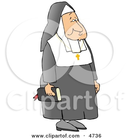 White Religious Christian Nun Carrying a Bible and Wearing a Cross Around Her Neck Clipart by djart
