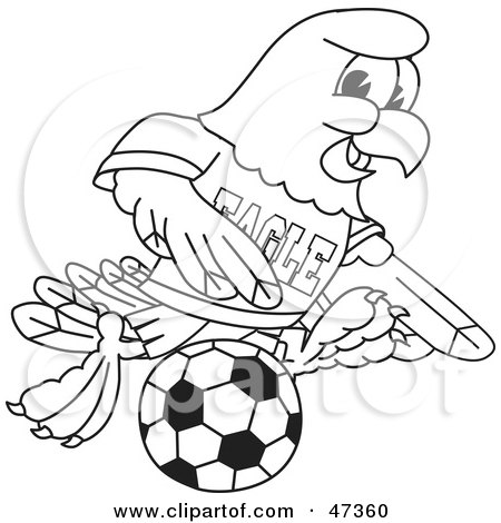 Royalty-Free (RF) Clipart Illustration of a Bald Eagle Hawk Or Falcon Playing Soccer Outline by Toons4Biz