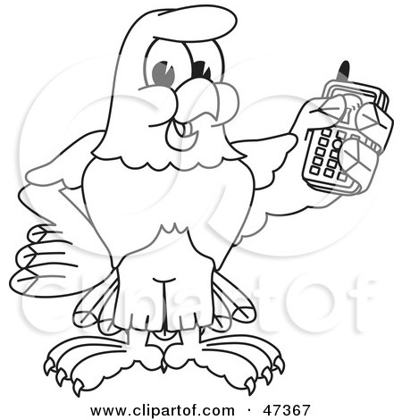 Royalty-Free (RF) Clipart Illustration of a Bald Eagle Hawk Or Falcon Holding A Cell Phone Outline by Toons4Biz