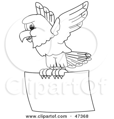 Royalty-Free (RF) Clipart Illustration of a Bald Eagle Hawk Or Falcon With A Promo Sign Outline by Toons4Biz