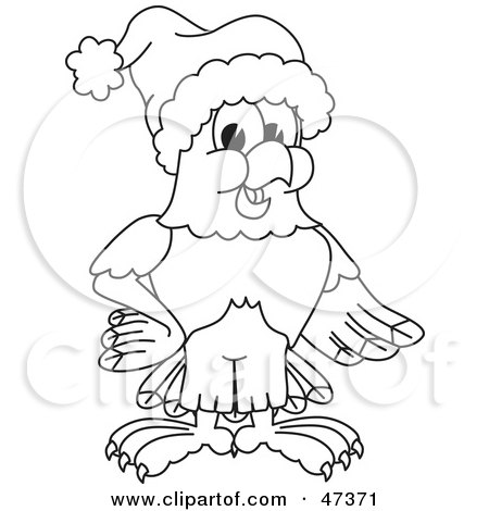Royalty-Free (RF) Clipart Illustration of a Bald Eagle Hawk Or Falcon Wearing A Santa Hat Outline by Toons4Biz