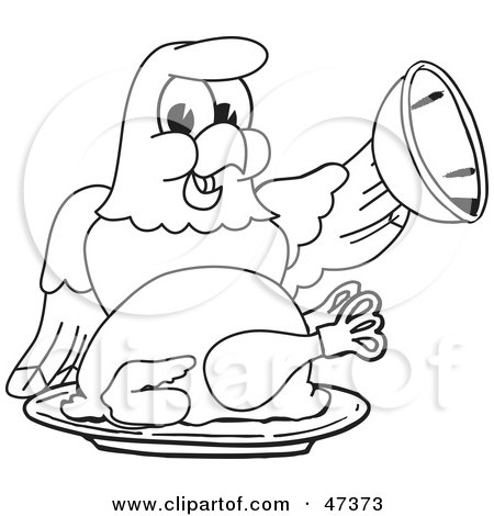Royalty-Free (RF) Clipart Illustration of a Bald Eagle Hawk Or Falcon Serving A Thanksgiving Turkey Outline by Toons4Biz