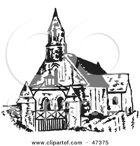 Royalty-Free (RF) Clipart Illustration of a Black And White Sketch Of A Steepled Church by Prawny
