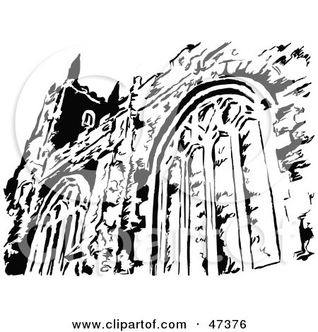 Royalty-Free (RF) Clipart Illustration of a Black And White Church Facade by Prawny