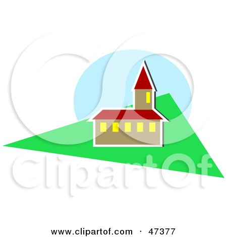 Royalty-Free (RF) Clipart Illustration of a Church With A Bell Tower And A Lawn by Prawny