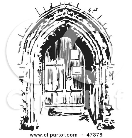 Royalty-Free (RF) Clipart Illustration of a Black And White Sketched Church Doorway by Prawny