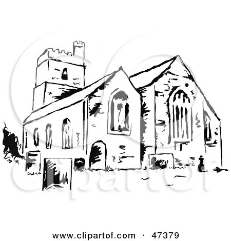Royalty-Free (RF) Clipart Illustration of a Black And White Sketch Of A Church by Prawny