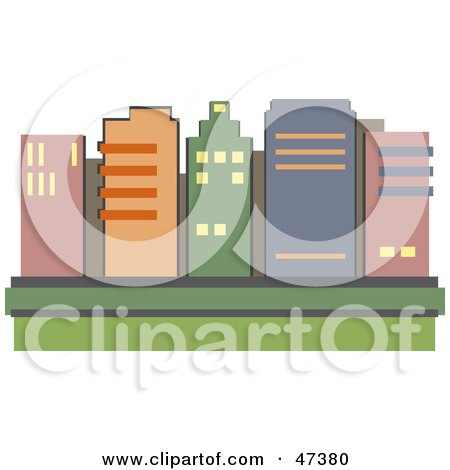 Royalty-Free (RF) Clipart Illustration of a Skyline of City Skyscrapers by Prawny