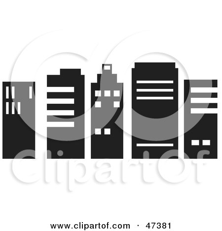 Royalty-Free (RF) Clipart Illustration of a Row Of Black And White Skyscrapers by Prawny
