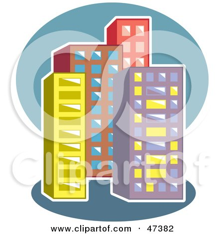 Royalty-Free (RF) Clipart Illustration of an Urban Block of Skyscrapers by Prawny