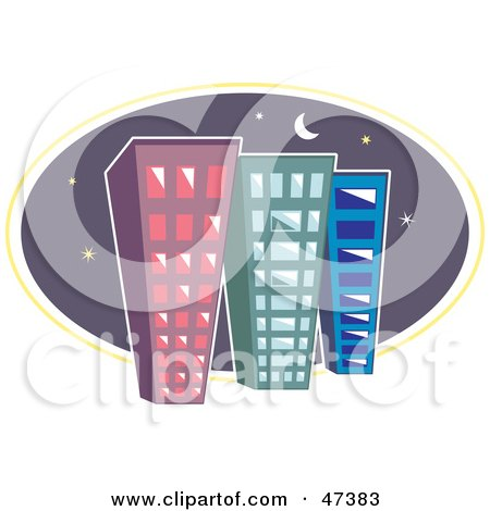Royalty-Free (RF) Clipart Illustration of Three Tall City Buildings Against A Night Sky by Prawny