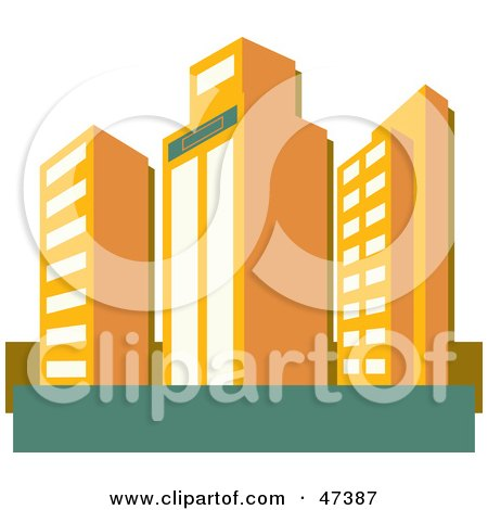 Royalty-Free (RF) Clipart Illustration of Tall Orange Skyscraper Buildings by Prawny