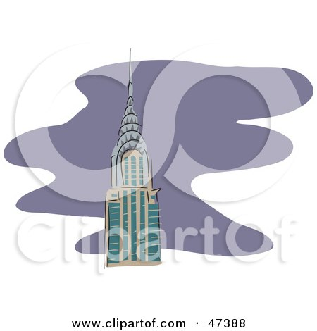 Royalty-Free (RF) Clipart Illustration of The Tip Of The Chrysler Building Over Purple by Prawny