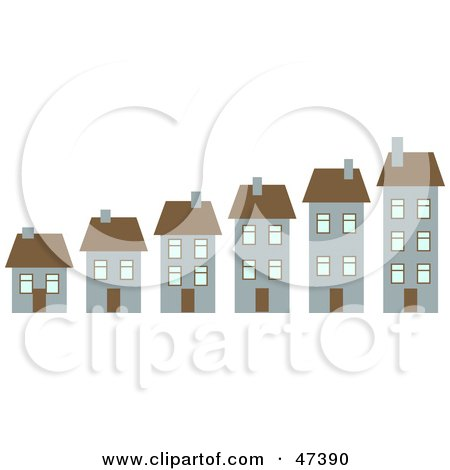 Royalty-Free (RF) Clipart Illustration of a Neighborhood of Growing Homes by Prawny