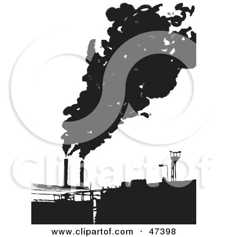 Royalty-Free (RF) Clipart Illustration of a Factory Emitting Smoke Into The Air by Prawny