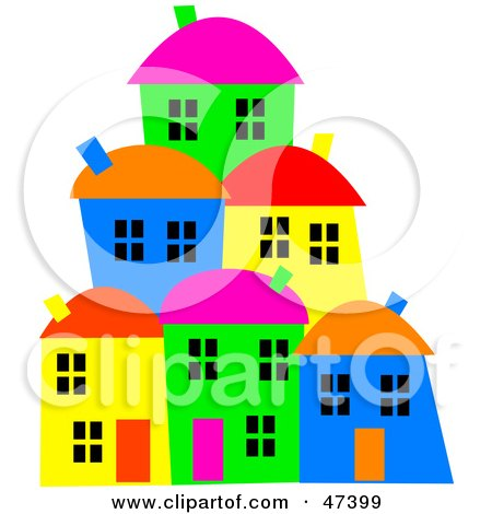 Royalty-Free (RF) Clipart Illustration of a Hillside Village Of Colorful Homes by Prawny