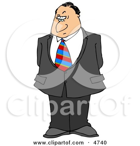 Businessman with a Disbelief Facial Expression and a Raised Eyebrow Clipart by djart